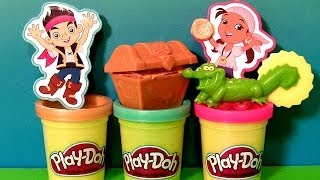 Repeat youtube video Play Doh Jake and The Neverland Pirates Treasure Creations set 2014 Tic Toc Croc Disney playdough