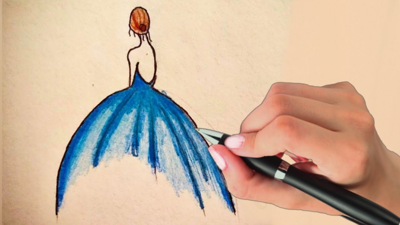 How To Draw Easy Girl With Beautiful Dress Drawing Tutorial Cute Girl Drawing Step By Step Youtube