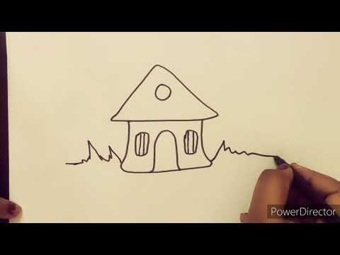 Easy landscape painting for kids and Beginners! Learn Simple sketch and painting of house & nature!🎨