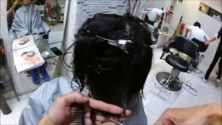 刈り上げ女子のアシメパーマスタイルです。今日もハードに仕上がってます!
