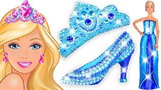 💖 Play Doh Sparkle Disney Princess Blue Barbie Dress 👗 High Heels and Crown Castle Toys