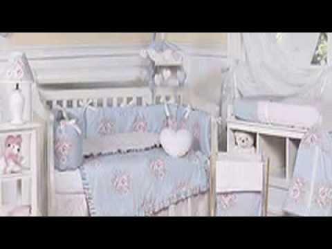 Sky Blue and Pink Shabby Chic Floral Baby Girl Crib Bedding