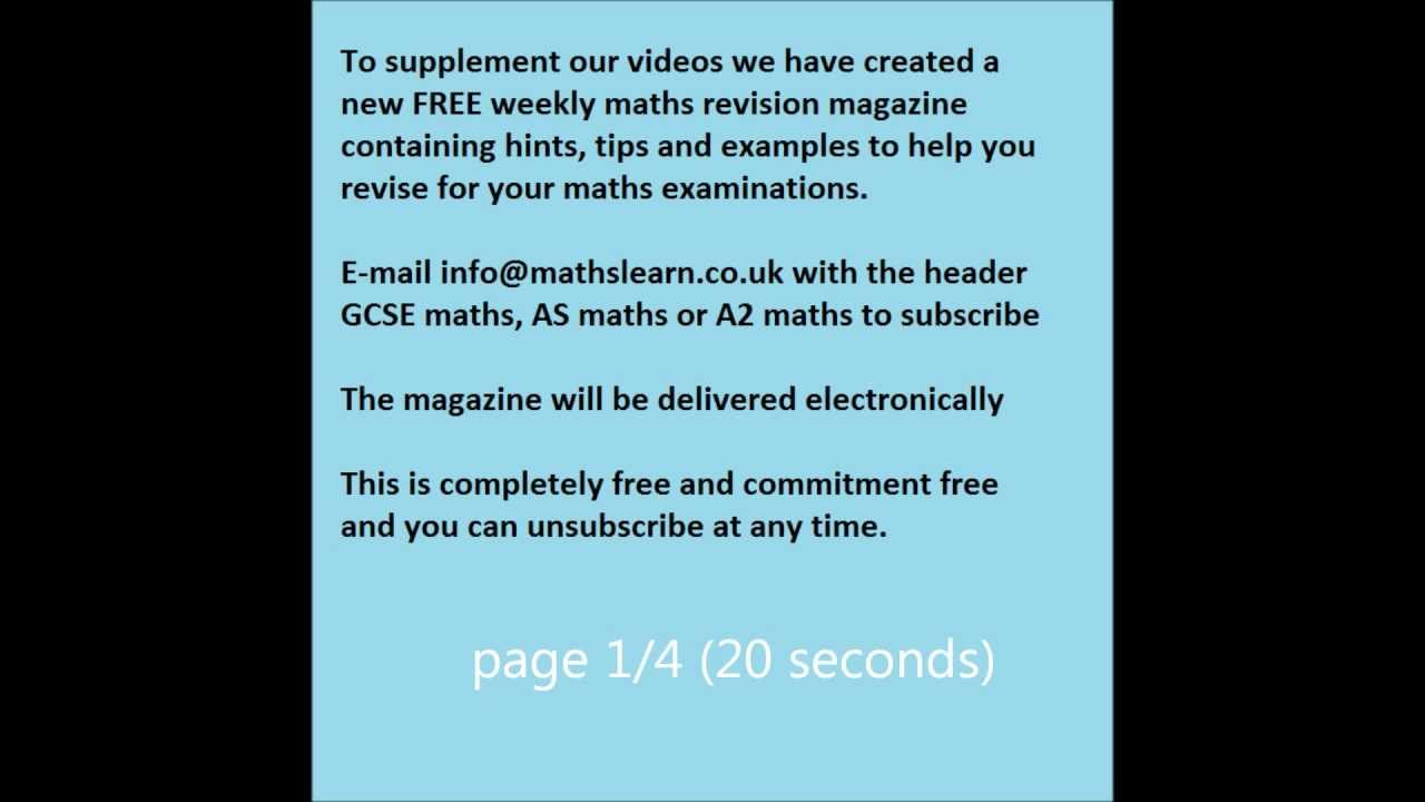 Free Weekly Maths Revision Magazine - details on how to apply - YouTube