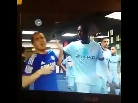 Eden Hazard gets bullied by Yaya Toure. Obviously he forgot to wish him a happy birthday