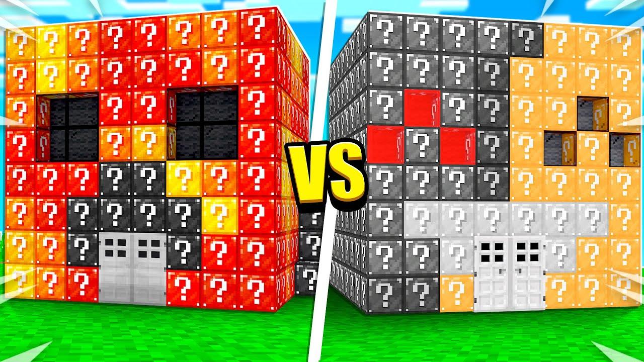 Preston vs Bionic LUCKY BLOCK House Build Battle! - Minecraft