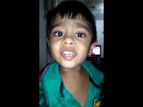 3 years old cute baby hansa sing sinhala ithihasa pothe ran akurin liya una song...