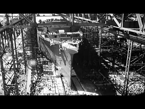 Mrs Roosevelt launches SS America at a harbor in Newport News, Virginia. HD Stock Footage