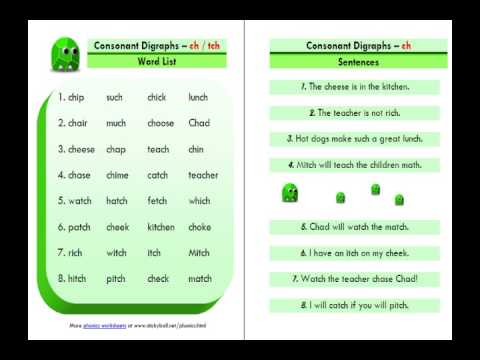 Worksheets List Of Words With Tch esl phonics lesson consonant digraphs ch tch youtube tch