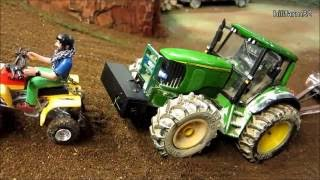 RC TRACTOR  with trailer climbs the hill - farm toys in action