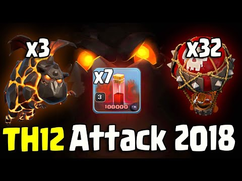 7 SKELETON SPELL + LAVALOON :: TH12 WAR ATTACK STRATEGY 2018 (Updated) | Clash of Clans