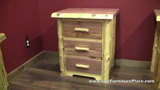 Red Cedar 3 Drawer Log Nightstand From Logfurnitureplace.com