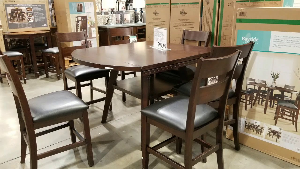 Costco Bayside Counter Height Table Round / Square with 6 Chairs ...