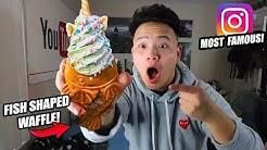 I TRIED INSTAGRAM'S MOST FAMOUS DESSERT! TAIYAKI FISH CONE WAFFLE ICE CREAM! (Taiyaki NYC Toronto)