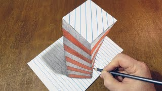 How to Draw 3D Illusion on Line Paper - Drawing Big Screwed Object - By Vamos