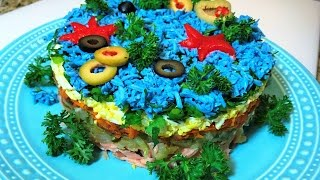 Праздничный Салат ТАЙНЫ ОКЕАНА.  Seafood Salad.