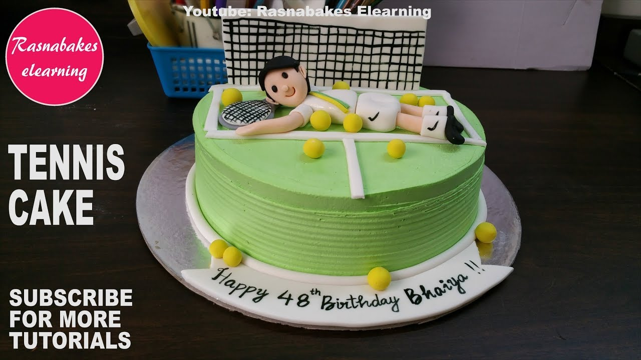 3d Fondant Wimbledon Tennis Racket Ball Courts Players Birthday
