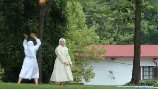 Nuns having fun playing volleyball in Bilbao