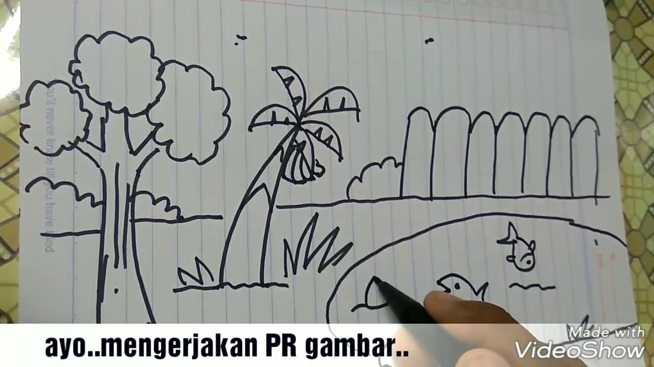Cara Menggambar Kebun Belakang Rumah How To Draw Banana Tree Youtube