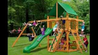 Gorilla Playsets Chateau Ii Swing Set W Amber Posts And Deluxe Green Vinyl Canopy