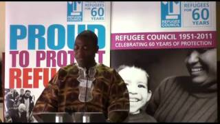 Akoi Bazzie tells his story at the Refugee Council 60th Anniversary event