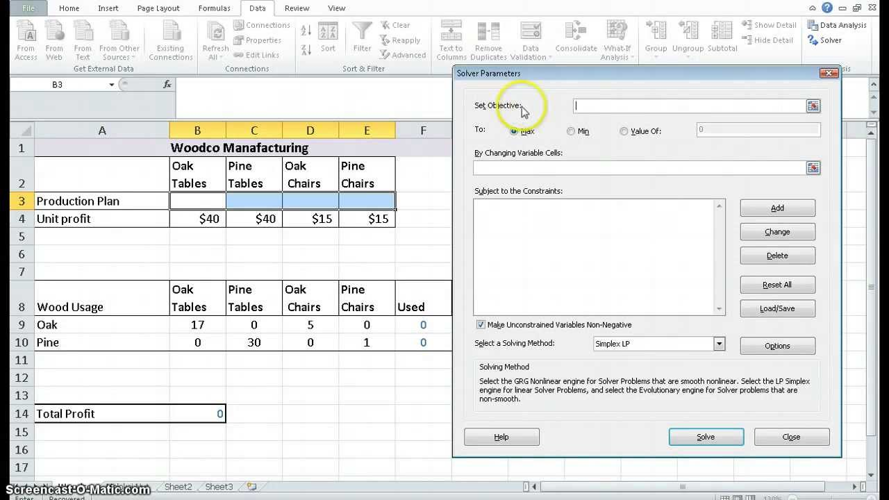 using excel solver to solve a lp problem using excel solver to solve a lp problem