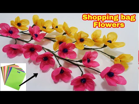 How to Make Shopping Bag Flowers - DIY Making Shopping Bag Flowers for Room Decoration