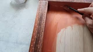인두화 -우드버닝후 액자 . 표구.틀 제작 칠  작업 …
