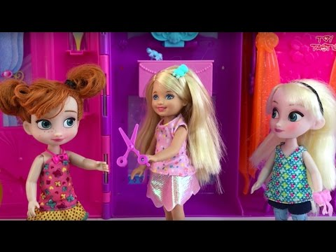Disney Frozen Toys Elsa Anna & Barbie Dolls Stories! Camping! Baby Sitter, Swimming +Makeover!
