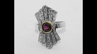 Video 18KT gold ring with ruby and diamonds, handmade, 1950s /60s style download MP3, 3GP, MP4, WEBM, AVI, FLV Mei 2018