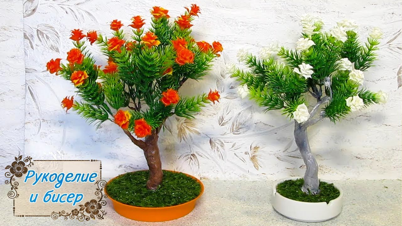 Мастер-Класс. Цветущее дерево из искусственных цветов. Самый простой способ.
