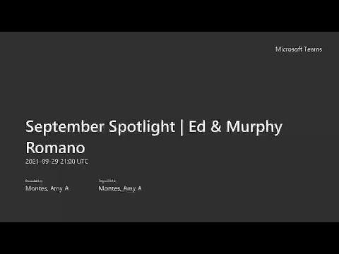 September Spotlight - Ed & Murphy Romano