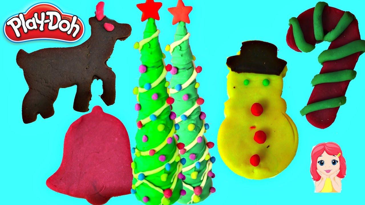 play doh arbolito de navidad y figuras navideas de plastilina