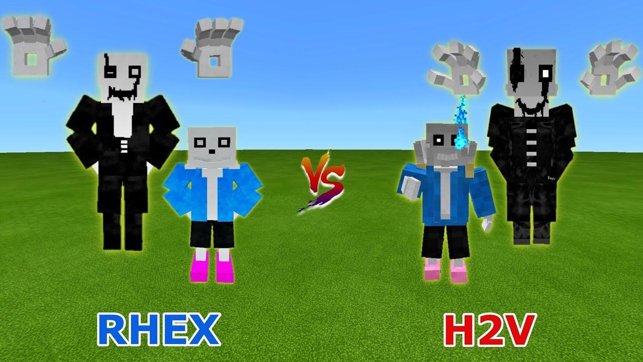 Gaster & Sans (Rhex) vs. Gaster & Sans (H2Vwither123) | Undertale Civil War | Minecraft Epic Battle