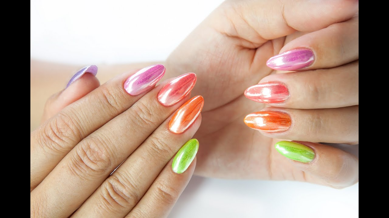 MIRROR POWDER EFFECT NEON by Nails Company - YouTube