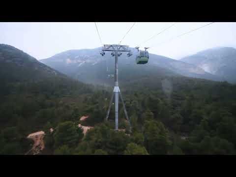 Mount Parnitha, Athens, Greece.  Cable car descent.