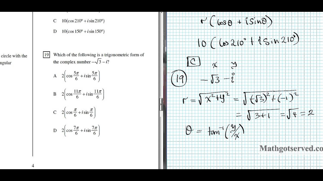 Mixed review complex numbers polar and rectangular form - YouTube