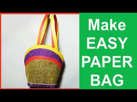 How to Make Bag with Color Paper | DIY - Paper Bag Tutorial | Crafts Handbag making step by step