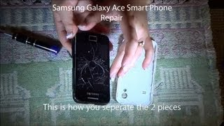 Replace any broken glass screen on Samsung Galaxy Ace Smart Phone(Video recorded in HD 720P: Step by step how-to video to replace a glass screen with the digitizer on a Samsung Galaxy Ace 1 phone. Almost all Samung smart ..., 2013-09-07T15:29:54.000Z)