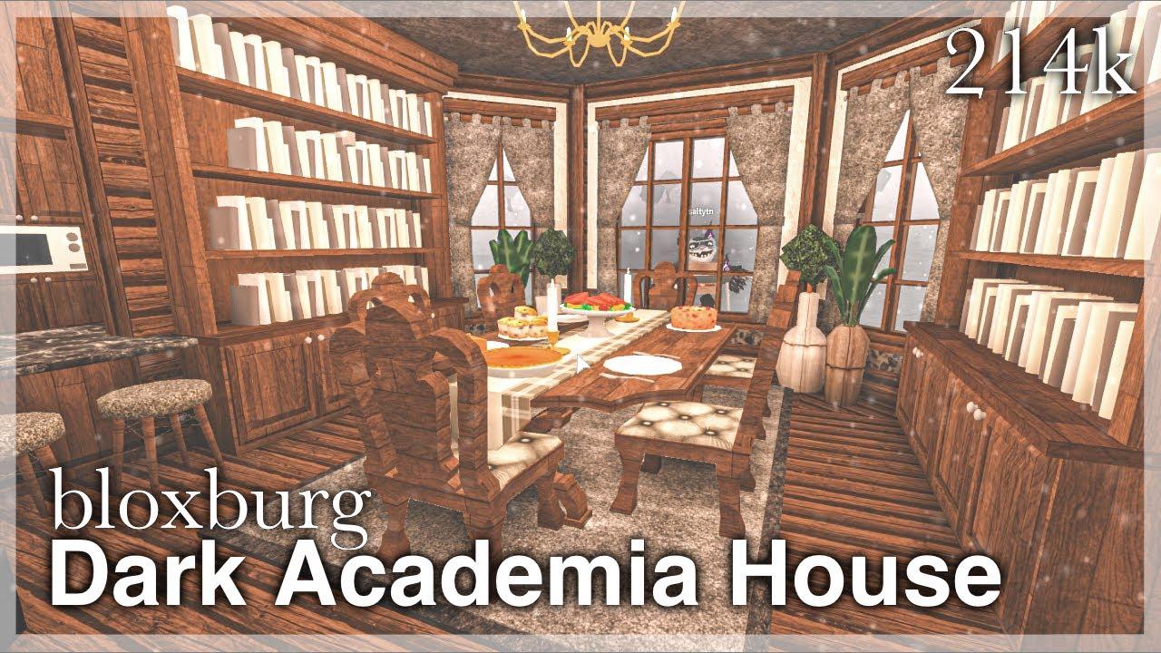 Bloxburg Dark Academia House Speedbuild Interior Full Tour Youtube