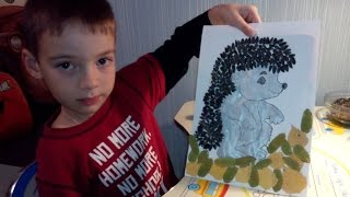 осенняя  Поделка  Ежик из семечек. hedgehog  made by hand