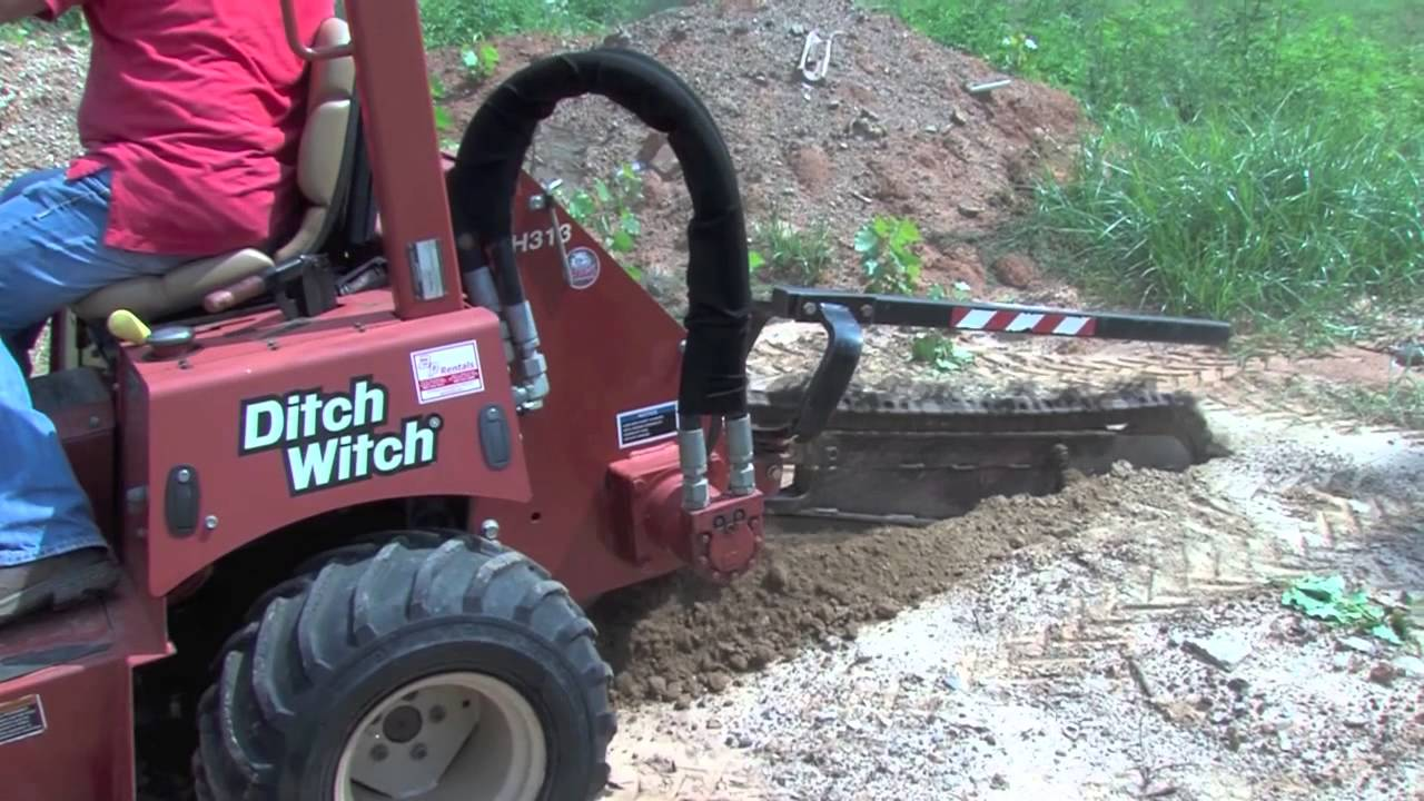 hight resolution of ditch witch rt40 riding trencher demonstration