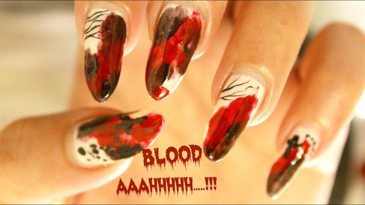 Halloween | Zombie / Blood Splatter Nail art design ...