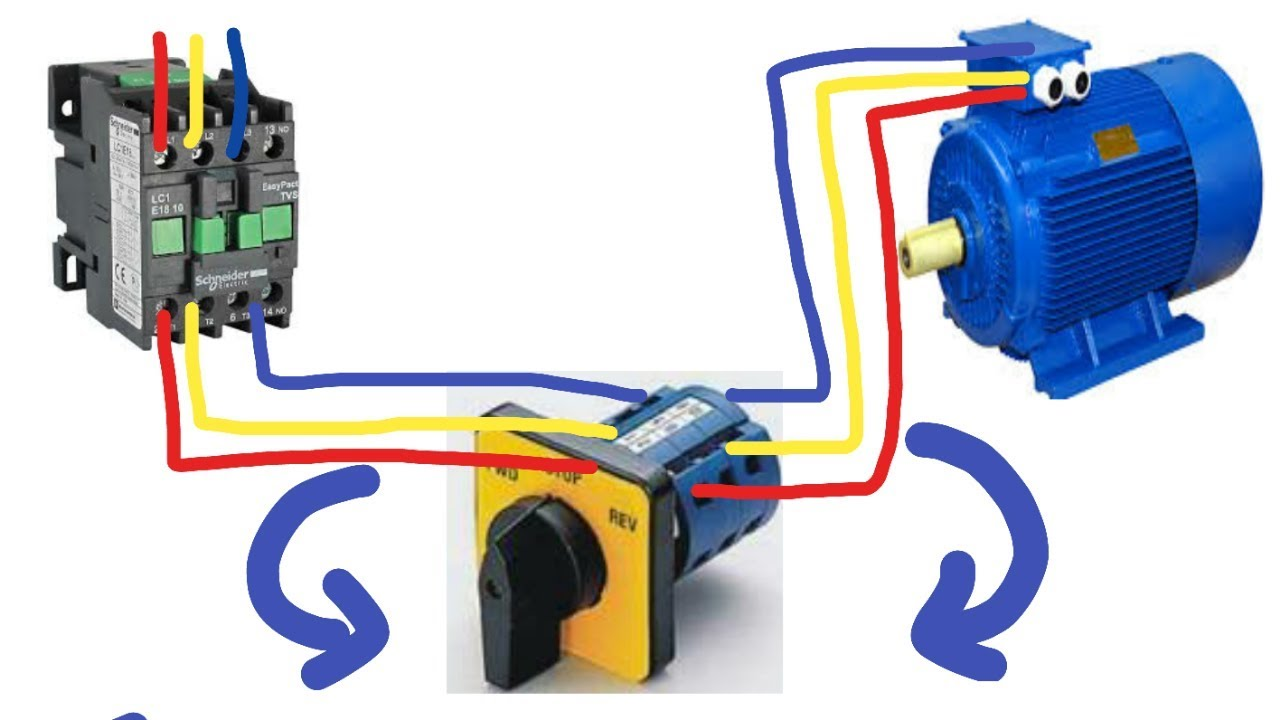 hight resolution of 3 phase motor reverse forward with selector switch