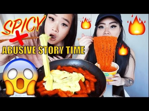CHEESY SPICY RICE CAKES + CHEESY SPICY CHICKEN NOODLES | MUKBANG | EATING SHOW