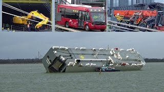Damaged JCBs, Buses & Cranes Being Unloaded From The Salvaged Ship Hoegh Osaka.