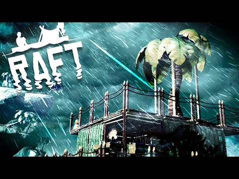 Raft - Massive Storm Encounter! - Huge Island Exploration, N