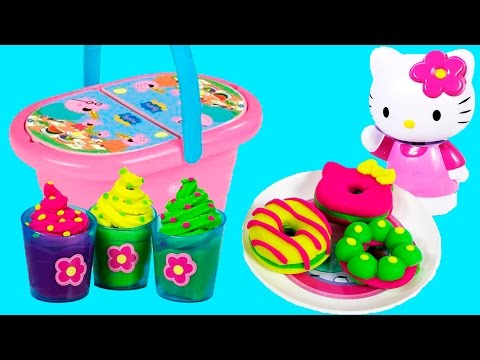 Peppa Pig Picnic Set Hello Kitty Play Dough Playset Play Doh Rainbow Colors Ice Creams Cookies