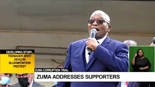 Zuma Corruption Trial | Former president addresses supporters after his court appearance