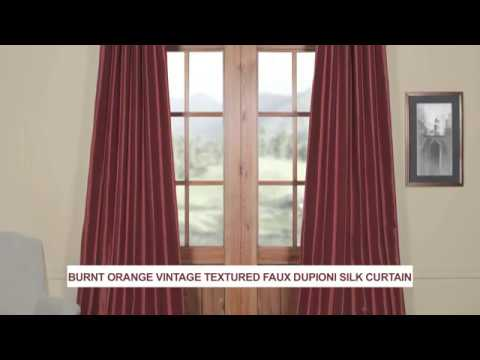 Burnt Orange Vintage Textured Faux Dupioni Silk Curtain
