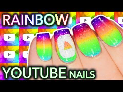 Rainbow YOUTUBE Play Button Nail Art🌈